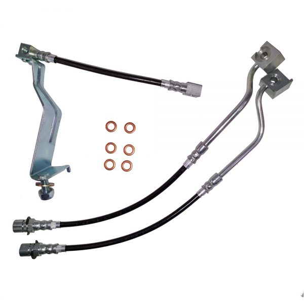 Mustang Brake Hose Kit Fox Body 87-92 Ford Mustang Front/Rear Stainless Steel J&M Products