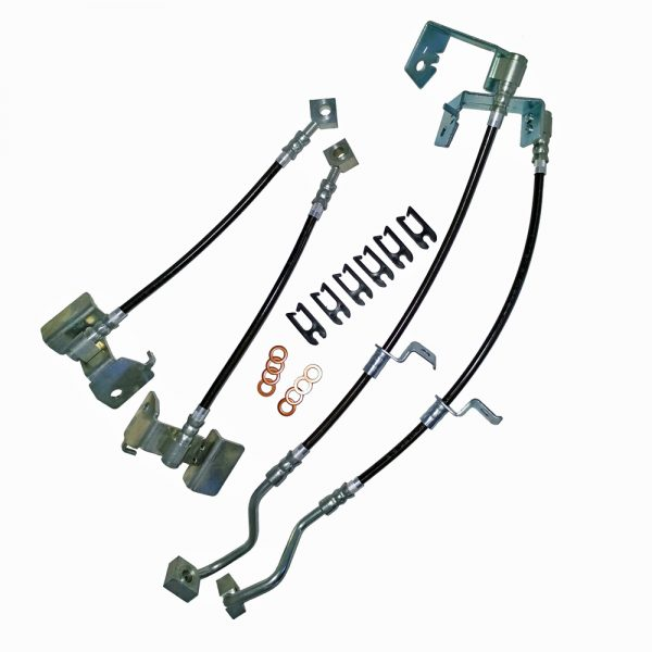 Mustang Stainless Steel Brake Hose Kits Clear Outer Coating ABS 05-14 J&M Products