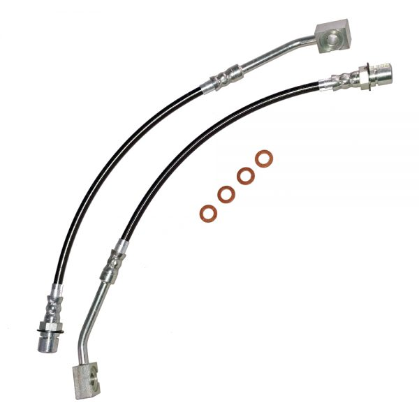 Mustang Brake Hose Kit Front 94-98 Ford Mustang Clear Protective Coating Stainless Steel J&M Products
