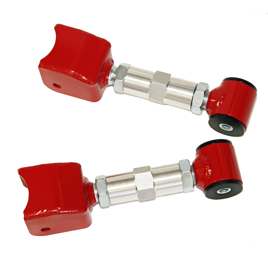 79-04 Mustang Upper Control Arm Street Double Adjustable Red J&M Products Made in the USA, on car adjustable, easy installation, no cutting or welding.