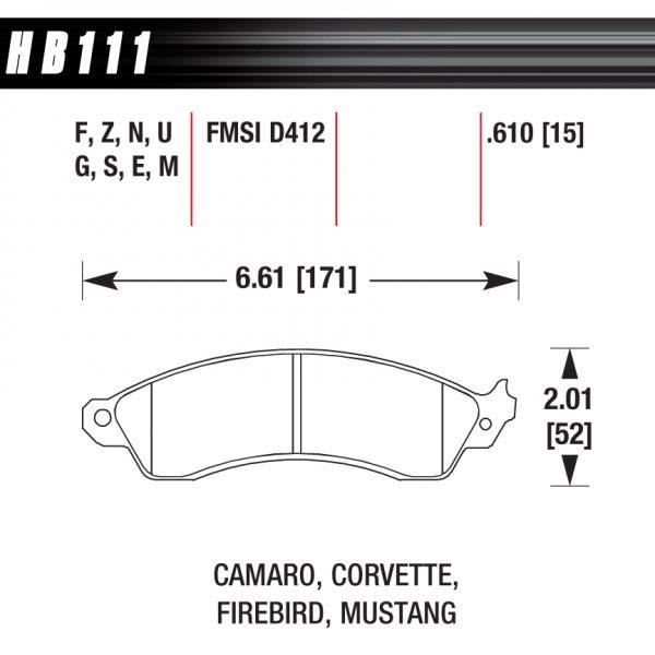 HB 111 Pad Plate Dimensions
