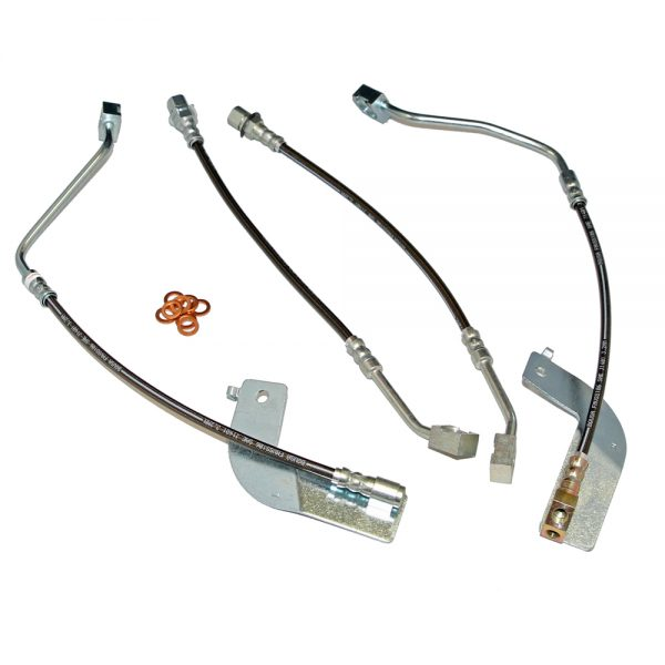 Mustang Brake Hose Kit Front/Rear 99-04 Ford Mustang W/O Traction Control 4 Hoses Stainless Steel J&M Products