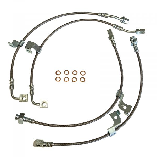 2018-Present Ford Mustang Stainless Steel Brake Hose Kit Fits MagneRide Suspension - Clear Outer Cover